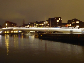 The new bicycle and pedestrian bridge in Copenhagen harbor