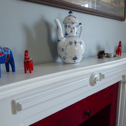 "My ""Hygge Hylde"" with Dala horses and Royal Copenhagen coffee pot"